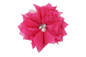 Hot Pink Lace Crystal Pearl Flower Hair Clip - Dream Lily Designs