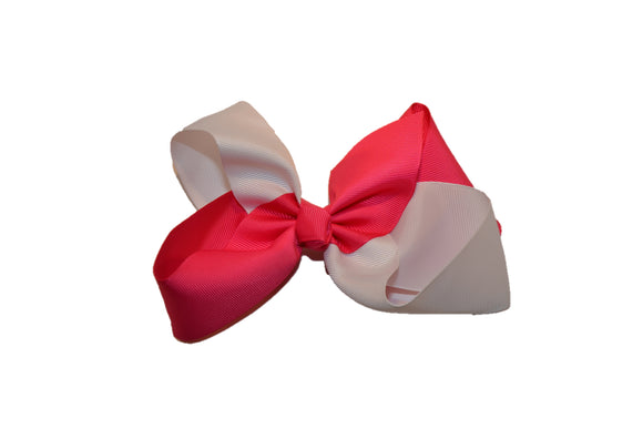 Hot Pink White School Spirit 6 Inch Boutique Hair Bow - Dream Lily Designs