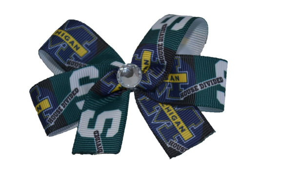 Michigan House Divided Michigan State Green Blue Gold Bow (Sports Teams) - Dream Lily Designs