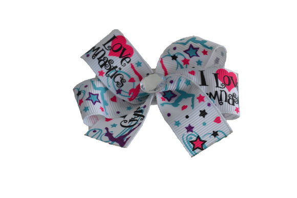I Love Gymnastics Bow (Sports) - Dream Lily Designs