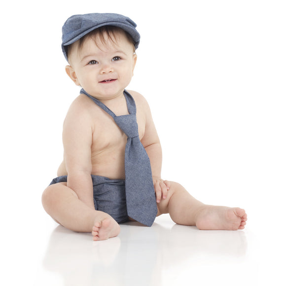Boy Cabbie Hat, Tie and Diaper Cover Set - Navy Blue Denium Hat and Diaper Cover Only - Dream Lily Designs