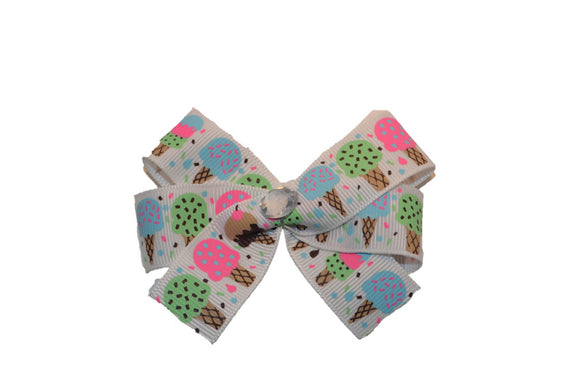 1 Inch White Ice Cream Cone Pattern Hair Bow (Food) - Dream Lily Designs