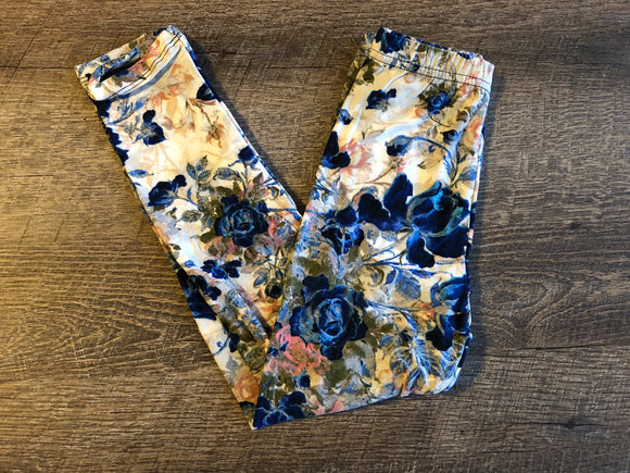 Girls Kids Ultra Soft Leggings - Legging Depot Brand - Ankle Length - School or Play - Ivory Blue Peach Floral Print - Dream Lily Designs
