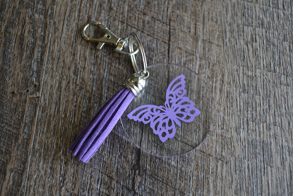 Acrylic Circle Keychain - Purple Butterfly - Dream Lily Designs