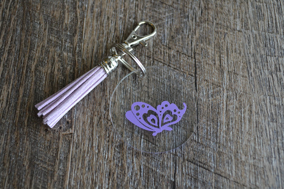 Acrylic Circle Keychain - Purple Butterfly Side View - Dream Lily Designs