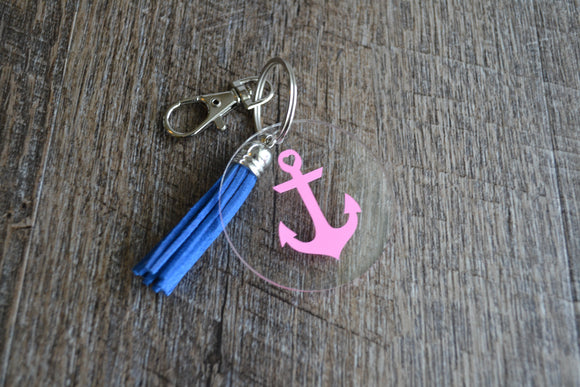 Acrylic Circle Keychain - Pink Anchor - Dream Lily Designs