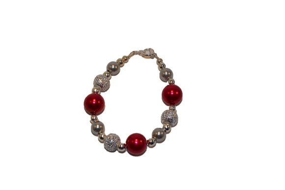 Dark Red and Silver Beaded Girls Bracelet - Dream Lily Designs
