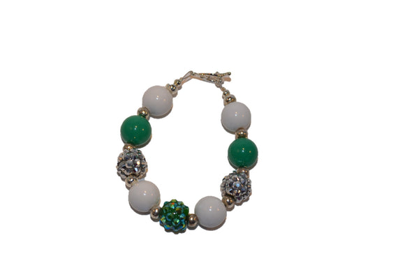 Green White and Silver Beaded Girls Bracelet - Dream Lily Designs
