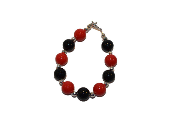 Black and Red Beaded Girls Bracelet - Dream Lily Designs