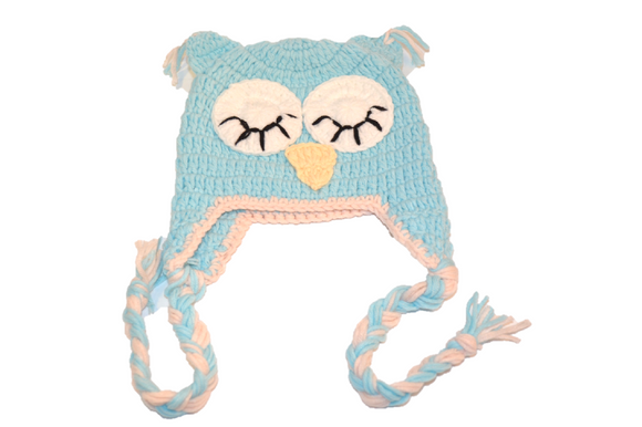 Light Blue Owl Crochet Hat with Tails - Dream Lily Designs