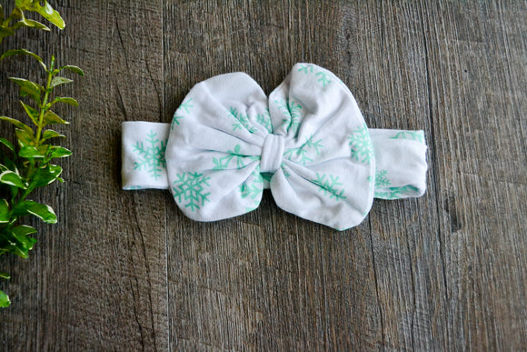 White Mint Snowflake Knot Headband - Dream Lily Designs