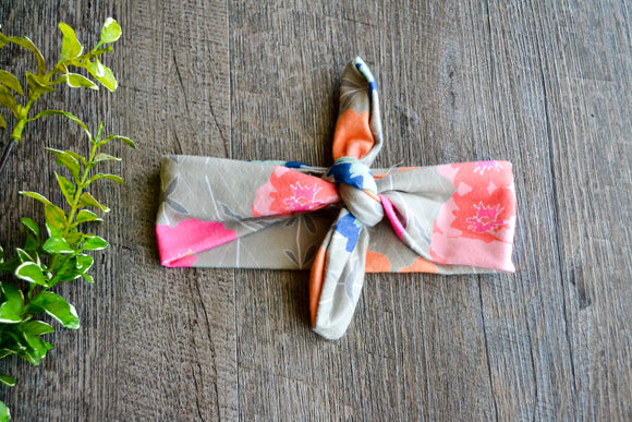 Grey Pink Orange Blue Flower Knot Headband - Dream Lily Designs