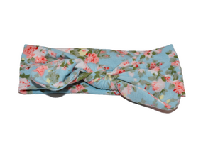 Light Blue Knot Headband with Floral - Dream Lily Designs