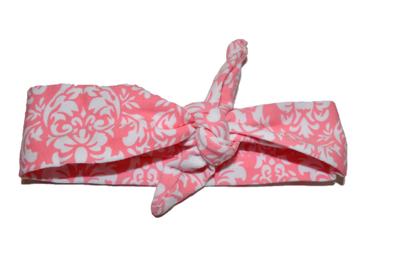 Pink Knot Headband with White Floral