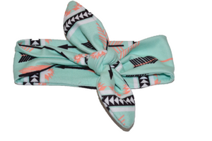 Mint Knot Headband with Aztec Designs - Dream Lily Designs