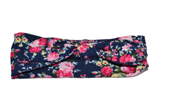 Navy Knot Headband with Floral - Dream Lily Designs