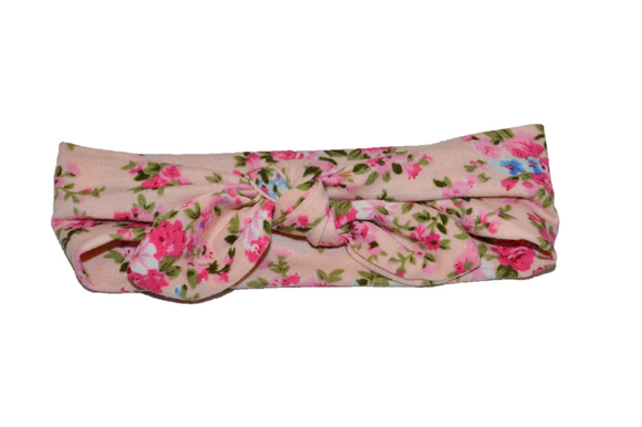 Light Pink Knot Headband with Floral - Dream Lily Designs