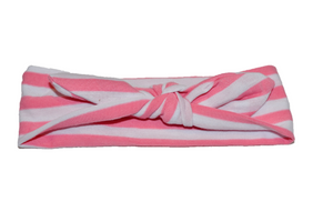 White Knot Headband with Pink Stripes
