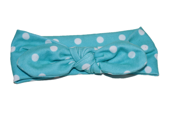 Turqouise Knot Headband with White Polka Dots
