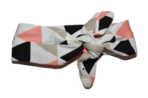 White Knot Headband with Peach and Grey Triangles - Dream Lily Designs