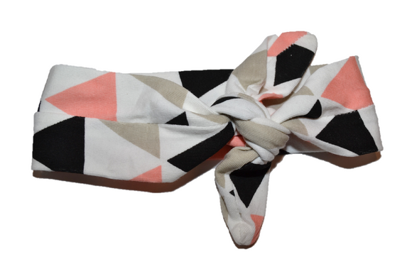 White Knot Headband with Peach and Grey Triangles