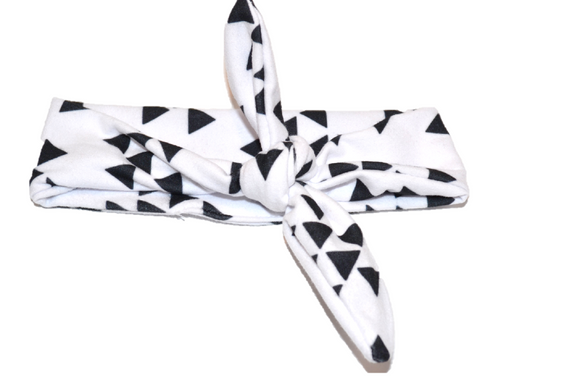White Knot Headband with Black Triangles - Dream Lily Designs