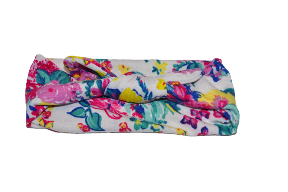 White Knot Headband with Colorful Nature Designs
