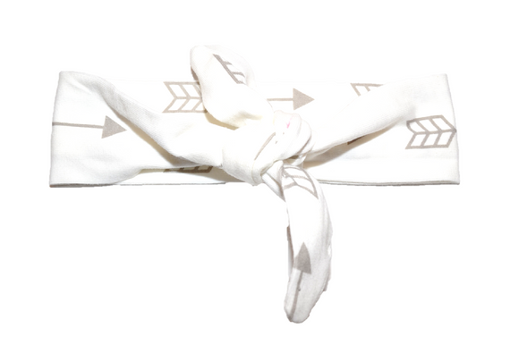 White Knot Headband with Arrows