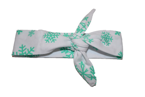 White Knot Headband with Mint Green Snowflakes - Dream Lily Designs