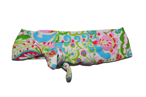 White Knot Headband with Spring Paisley Designs