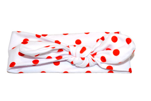 White Knot Headband with Red Polka Dots - Dream Lily Designs