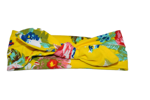 Yellow Knot Headband with Floral - Dream Lily Designs