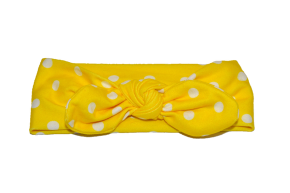 Yellow Knot Headband with White Polka Dots