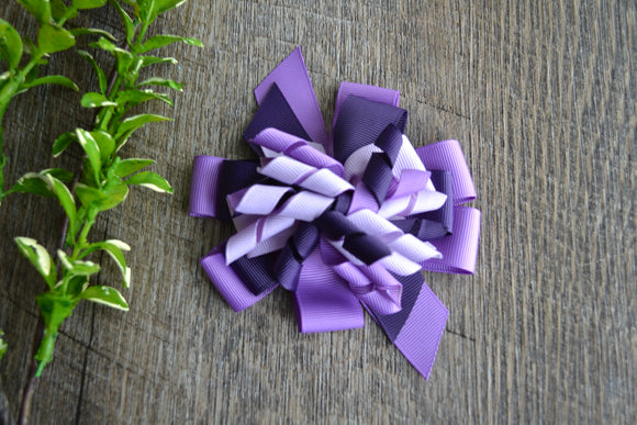 Korker Stacked Boutique Hair Bow - Purple - Dream Lily Designs