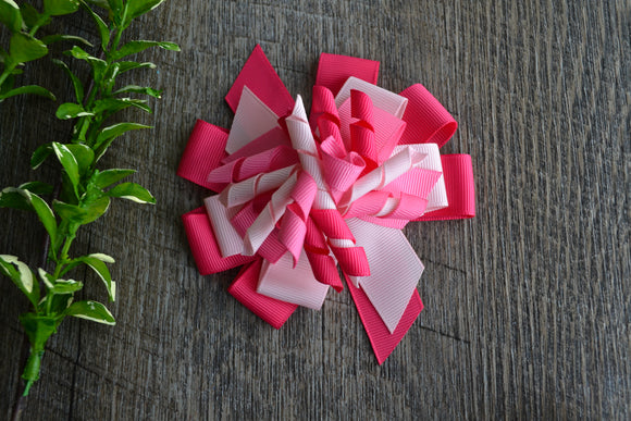 Korker Stacked Boutique Hair Bow - Pink - Dream Lily Designs