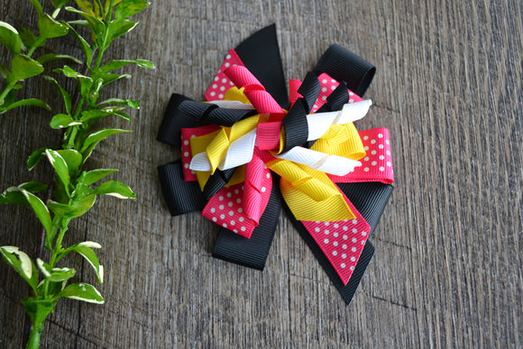 Korker Stacked Boutique Hair Bow - Hot Pink White Black Yellow - Dream Lily Designs