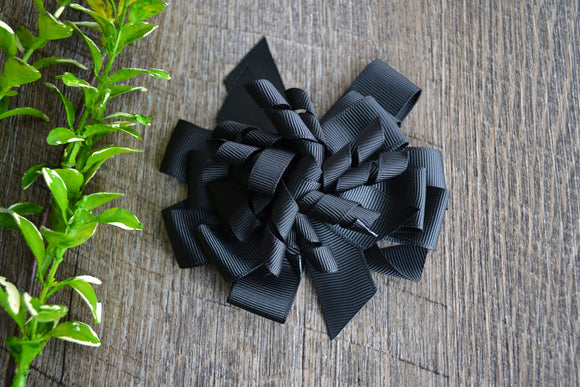 Korker Stacked Boutique Hair Bow - Black - Dream Lily Designs