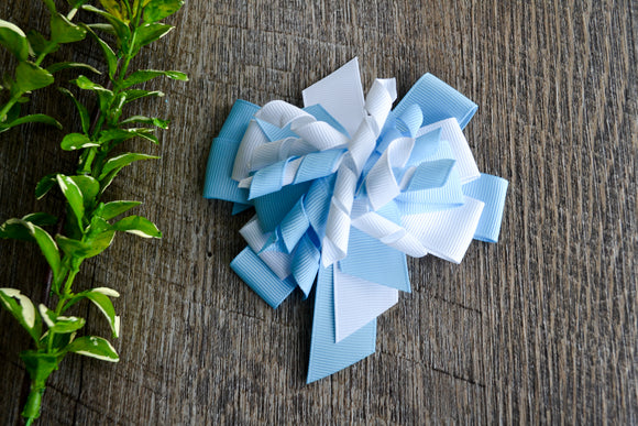Korker Stacked Boutique Hair Bow - Blue and White - Dream Lily Designs