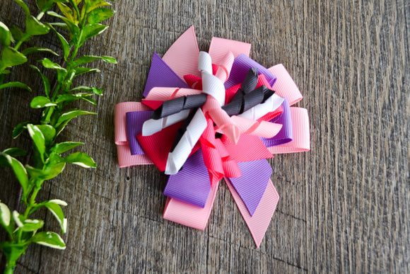 Korker Stacked Boutique Hair Bow - Purple Pink White Grey - Dream Lily Designs