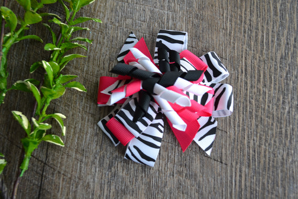 Korker Stacked Boutique Hair Bow - Hot Pink White Black Zebra - Dream Lily Designs