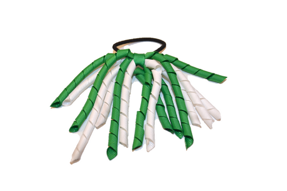 White and Green Korker Ribbon Ponytail - Dream Lily Designs