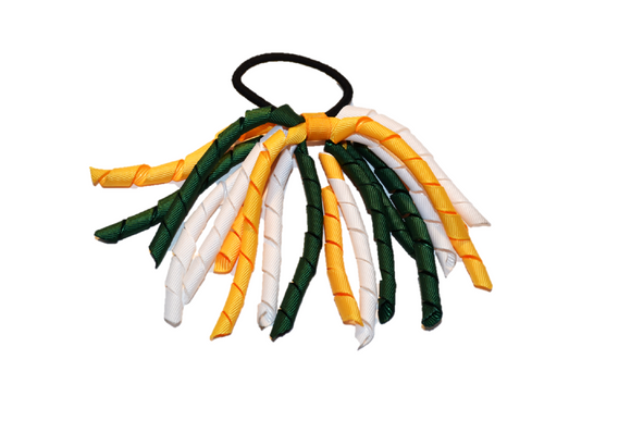White, Yellow, and Dark Green Korker Ribbon Ponytail - Dream Lily Designs