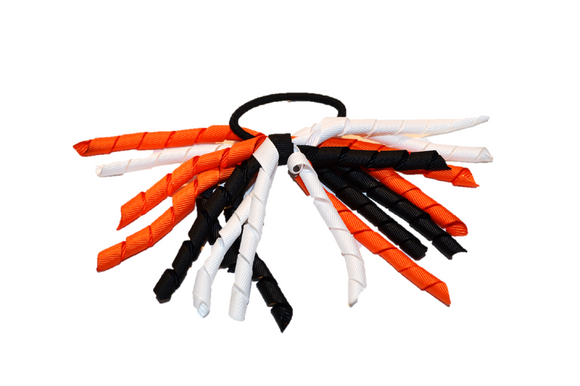 White, Black, and Orange Korker Ribbon Ponytail 1