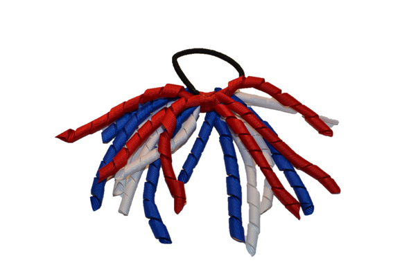 Red, White, and Blue Korker Ribbon Ponytail - Dream Lily Designs