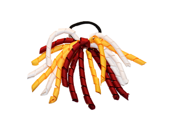 White, Yellow, and Maroon Korker Ribbon Ponytail - Dream Lily Designs