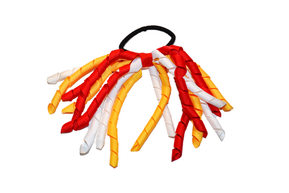 White, Yellow, and Red Korker Ribbon Ponytail - Dream Lily Designs