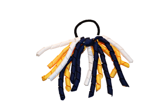 Yellow, Navy, and White Korker Ribbon Ponytail 1