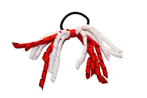 White and Red Korker Ribbon Ponytail - Dream Lily Designs
