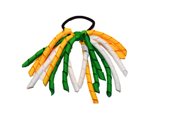 Yellow, Green, and White Korker Ribbon Ponytail - Dream Lily Designs