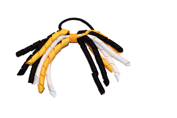 Yellow, Black, and White Korker Ribbon Ponytail - Dream Lily Designs